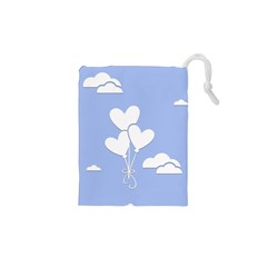 Clouds Sky Air Balloons Heart Blue Drawstring Pouches (xs)  by Nexatart