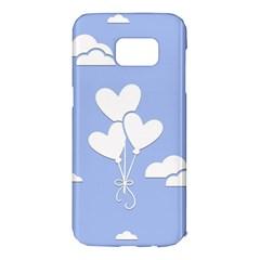 Clouds Sky Air Balloons Heart Blue Samsung Galaxy S7 Edge Hardshell Case