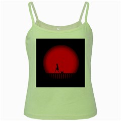 Girl Cat Scary Red Animal Pet Green Spaghetti Tank