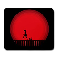 Girl Cat Scary Red Animal Pet Large Mousepads by Nexatart