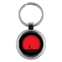 Girl Cat Scary Red Animal Pet Key Chains (round)
