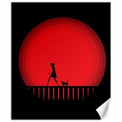 Girl Cat Scary Red Animal Pet Canvas 20  X 24