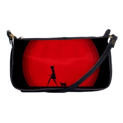 Girl Cat Scary Red Animal Pet Shoulder Clutch Bags