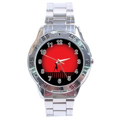 Girl Cat Scary Red Animal Pet Stainless Steel Analogue Watch