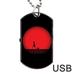 Girl Cat Scary Red Animal Pet Dog Tag Usb Flash (two Sides) by Nexatart