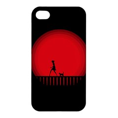 Girl Cat Scary Red Animal Pet Apple Iphone 4/4s Hardshell Case