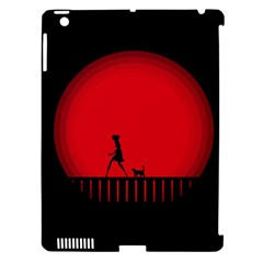 Girl Cat Scary Red Animal Pet Apple Ipad 3/4 Hardshell Case (compatible With Smart Cover) by Nexatart