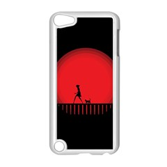 Girl Cat Scary Red Animal Pet Apple Ipod Touch 5 Case (white) by Nexatart