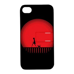 Girl Cat Scary Red Animal Pet Apple Iphone 4/4s Hardshell Case With Stand by Nexatart