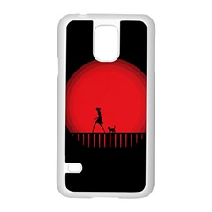 Girl Cat Scary Red Animal Pet Samsung Galaxy S5 Case (white)