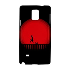 Girl Cat Scary Red Animal Pet Samsung Galaxy Note 4 Hardshell Case