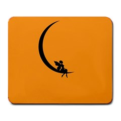 Angle Moon Scene Girl Wings Black Large Mousepads by Nexatart
