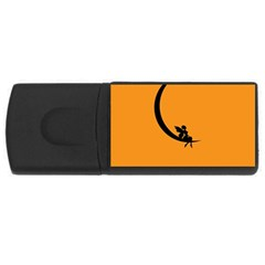 Angle Moon Scene Girl Wings Black Rectangular Usb Flash Drive
