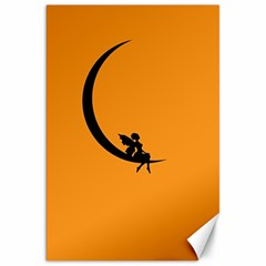 Angle Moon Scene Girl Wings Black Canvas 20  X 30   by Nexatart