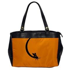 Angle Moon Scene Girl Wings Black Office Handbags by Nexatart