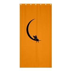 Angle Moon Scene Girl Wings Black Shower Curtain 36  X 72  (stall)