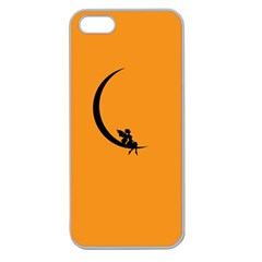 Angle Moon Scene Girl Wings Black Apple Seamless Iphone 5 Case (clear)