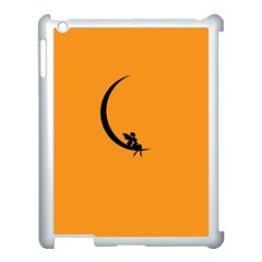 Angle Moon Scene Girl Wings Black Apple Ipad 3/4 Case (white) by Nexatart