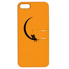 Angle Moon Scene Girl Wings Black Apple Iphone 5 Hardshell Case With Stand by Nexatart