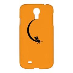 Angle Moon Scene Girl Wings Black Samsung Galaxy S4 I9500/i9505 Hardshell Case