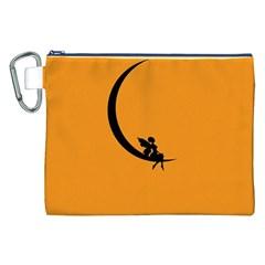 Angle Moon Scene Girl Wings Black Canvas Cosmetic Bag (xxl) by Nexatart