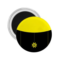 Flower Land Yellow Black Design 2 25  Magnets by Nexatart
