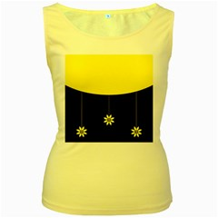 Flower Land Yellow Black Design Women s Yellow Tank Top