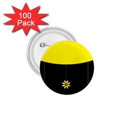 Flower Land Yellow Black Design 1 75  Buttons (100 Pack)