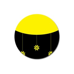 Flower Land Yellow Black Design Magnet 3  (round) by Nexatart