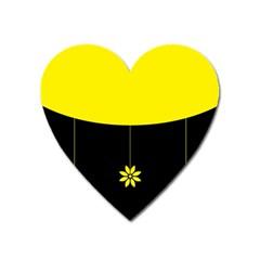 Flower Land Yellow Black Design Heart Magnet