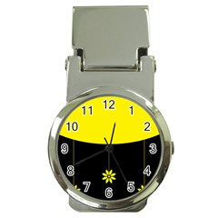 Flower Land Yellow Black Design Money Clip Watches