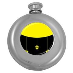 Flower Land Yellow Black Design Round Hip Flask (5 Oz)