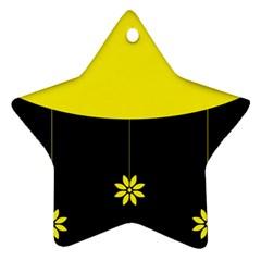 Flower Land Yellow Black Design Star Ornament (two Sides) by Nexatart