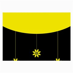Flower Land Yellow Black Design Large Glasses Cloth (2 Side) by Nexatart