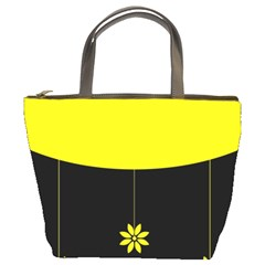Flower Land Yellow Black Design Bucket Bags by Nexatart