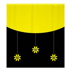 Flower Land Yellow Black Design Shower Curtain 66  X 72  (large)