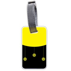 Flower Land Yellow Black Design Luggage Tags (one Side)