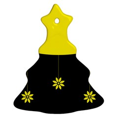 Flower Land Yellow Black Design Christmas Tree Ornament (two Sides)