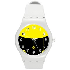 Flower Land Yellow Black Design Round Plastic Sport Watch (m) by Nexatart