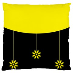 Flower Land Yellow Black Design Large Cushion Case (two Sides)