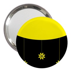 Flower Land Yellow Black Design 3  Handbag Mirrors by Nexatart
