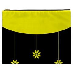 Flower Land Yellow Black Design Cosmetic Bag (xxxl)