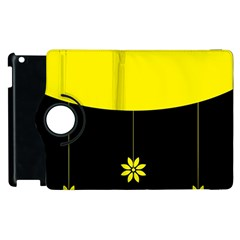 Flower Land Yellow Black Design Apple Ipad 2 Flip 360 Case by Nexatart