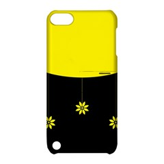 Flower Land Yellow Black Design Apple Ipod Touch 5 Hardshell Case With Stand