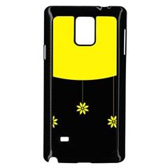 Flower Land Yellow Black Design Samsung Galaxy Note 4 Case (black)
