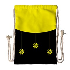 Flower Land Yellow Black Design Drawstring Bag (large)