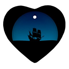 Ship Night Sailing Water Sea Sky Ornament (heart)