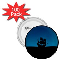 Ship Night Sailing Water Sea Sky 1 75  Buttons (100 Pack)