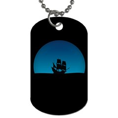 Ship Night Sailing Water Sea Sky Dog Tag (two Sides)