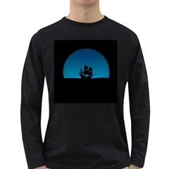 Ship Night Sailing Water Sea Sky Long Sleeve Dark T Shirts